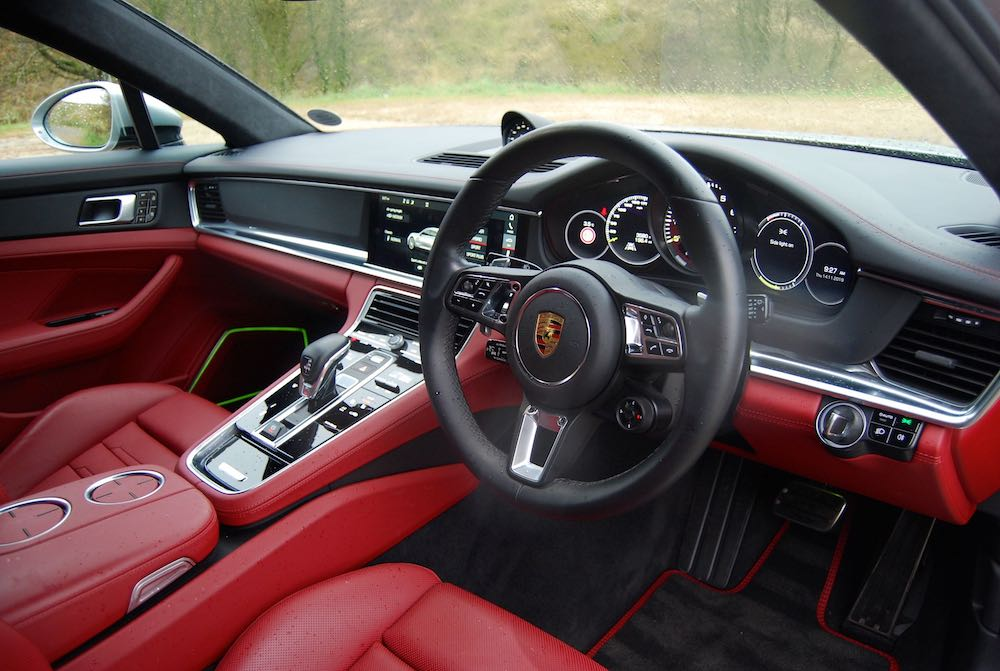 porsche panamera turbo s sport turismo e-hybrid interior dashboard review red