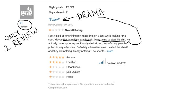 Bogus Reviews on Campendium