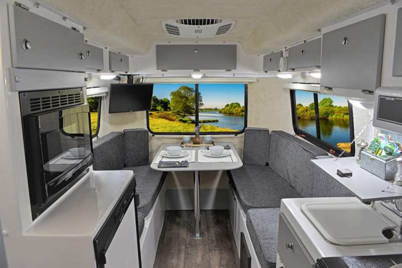 Casita travel trailers have kitchens, plenty of storage, even a closet!