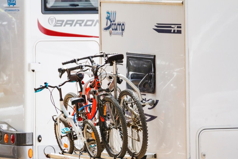 Bicycles mounted on an RV.