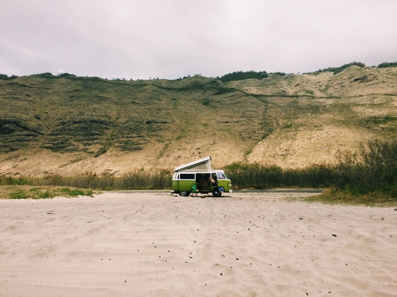 RV beach camping damage and prevention. don't get stuck in sand. wind can damage RV