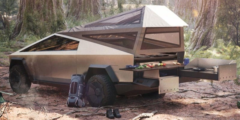 Mock up of the Cyberlandr attached to the Cybertruck out on a camping trip.
