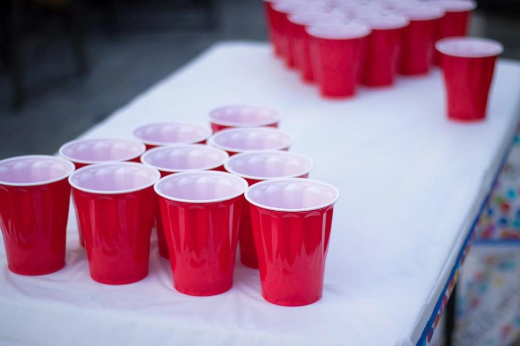 Beer pong set up.
