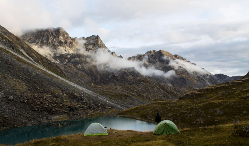Two tents set up in Alaska for camping.