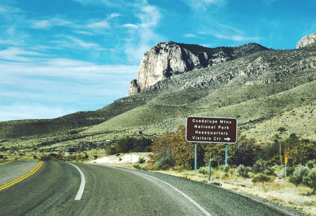Guadalupe Mountains National Park, Texas sign