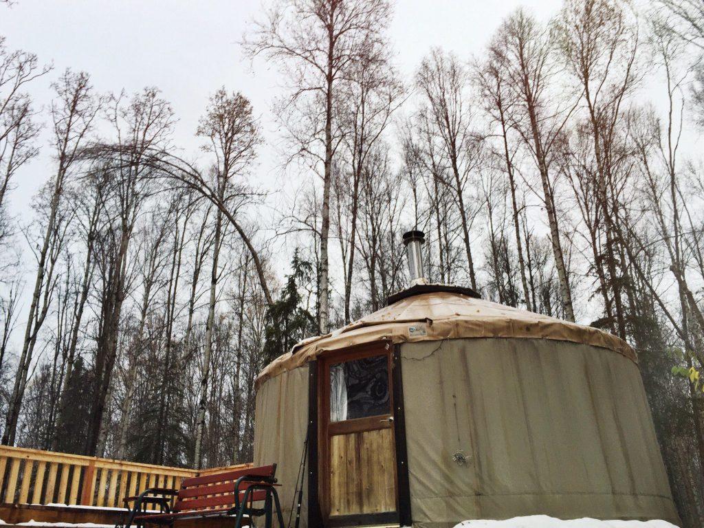 Yurt set up for off grid living.