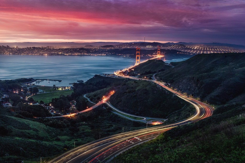 High perspective photograph of the Golden Gate Bridge.