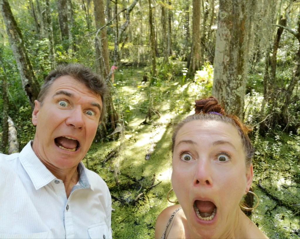 Camping couple shocked in forest.