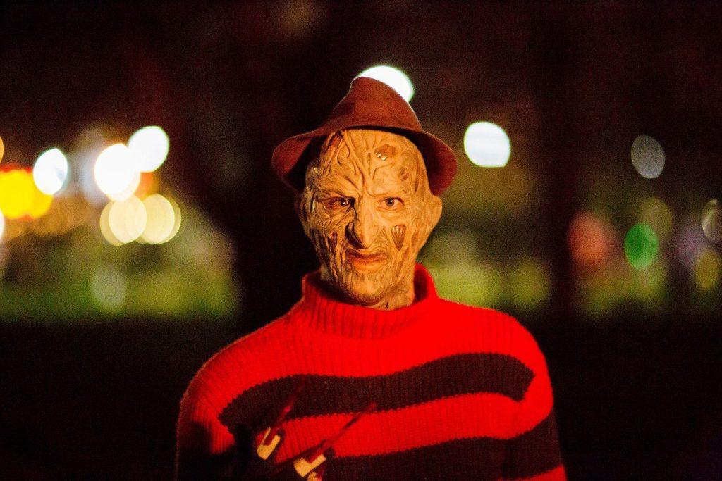 man dressed as Freddy Krueger.