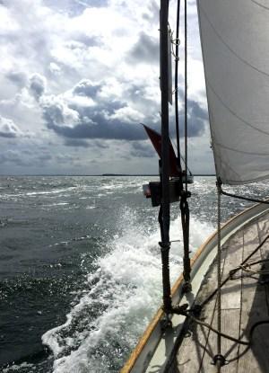 Karen under kapsejlads med Concordia om bagbord. Foto: Hanne Hollnagel