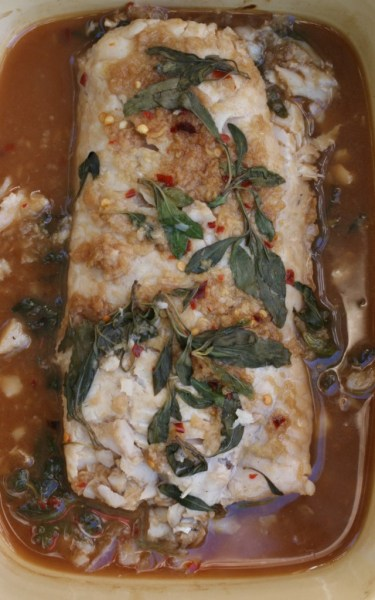 oven baked hake with basil, ginger, lime and garlic