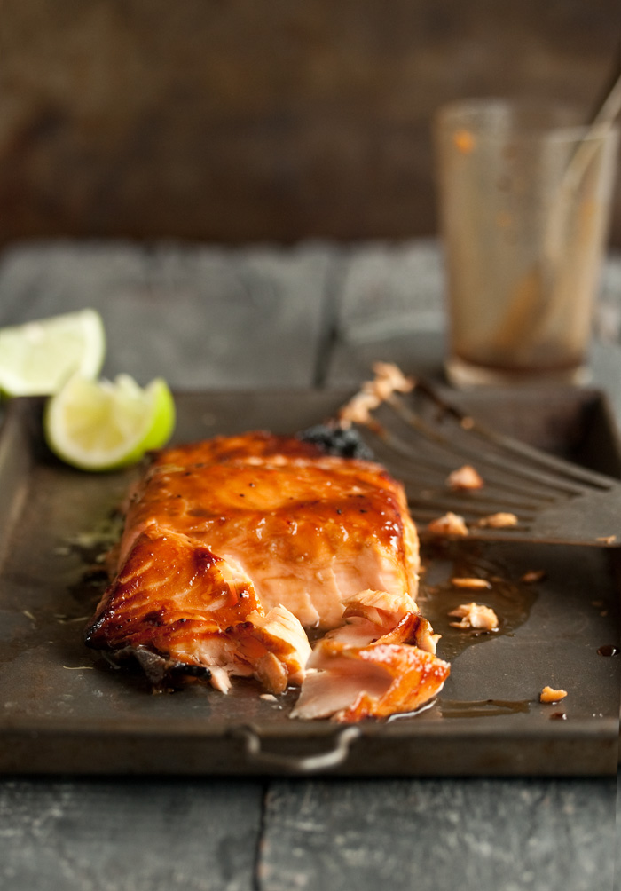salmon with a miso honey glaze