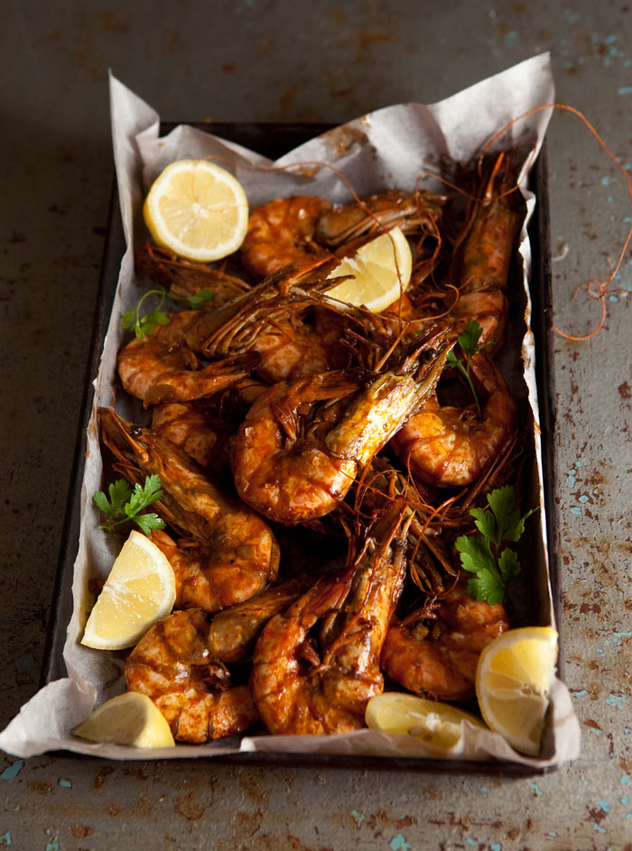 oven roasted peri peri prawns