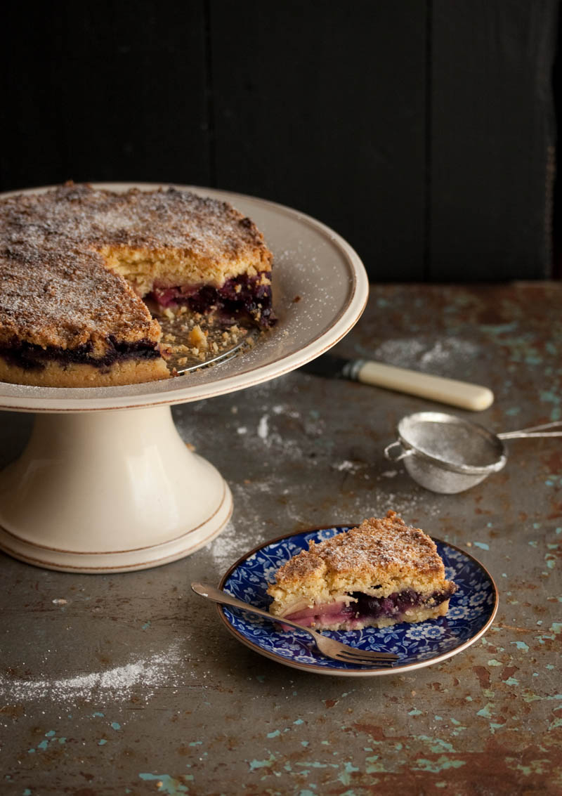 apple and blueberry streusel cake