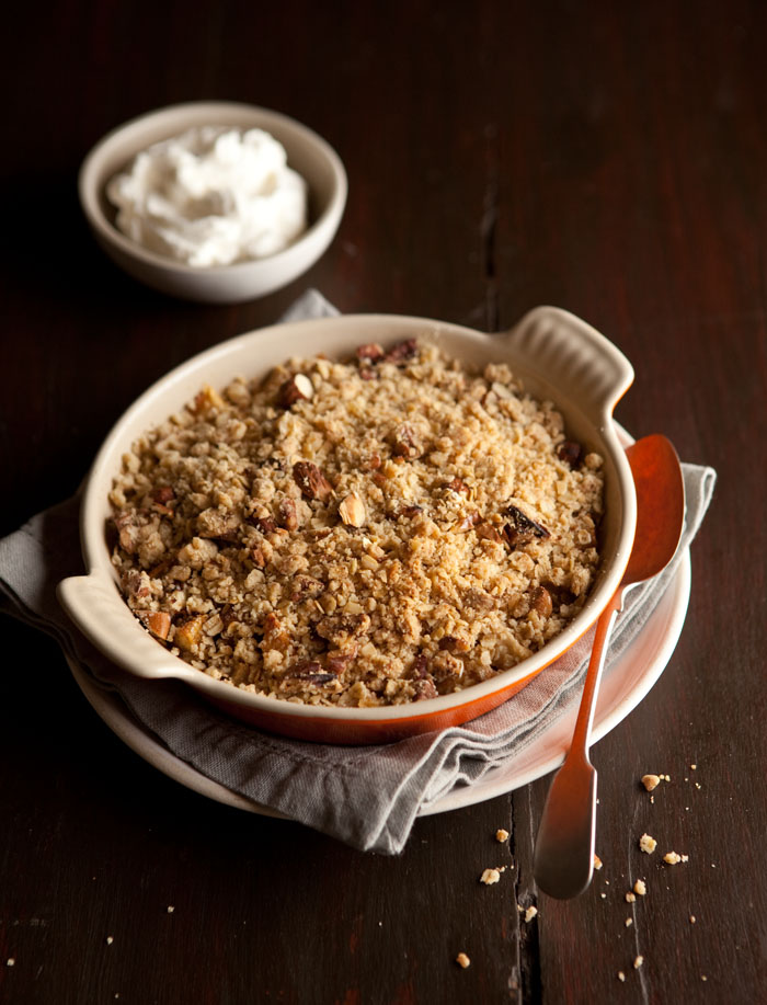 oat and nut apple crumble with cranberries and orange