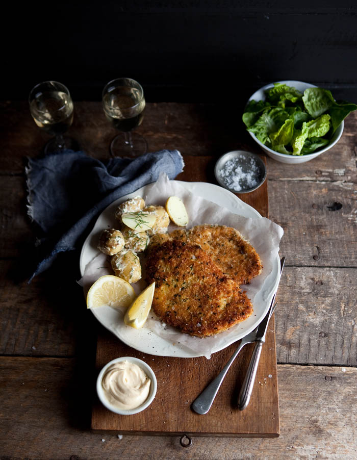 Crumbed chicken breast with herbs, lemon and Parmesan