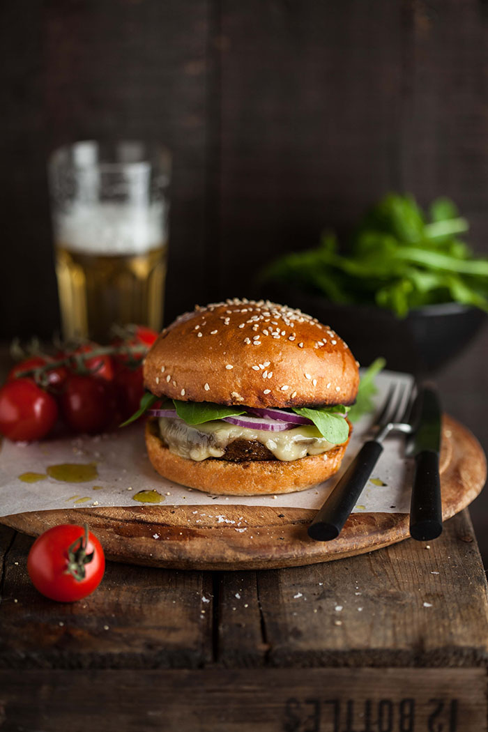 vegetarian mushroom burger with pesto