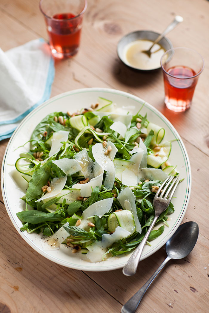 Shaved zuchhini, rocket, basil and Parmesan salad