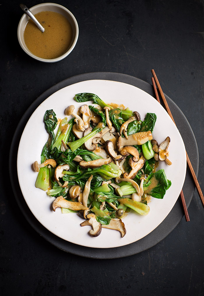 Flash cooked bok choy and mushrooms with a miso dressing