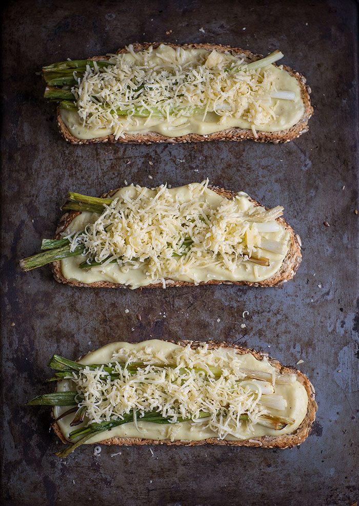 char roasted spring onion tartines with viking salt