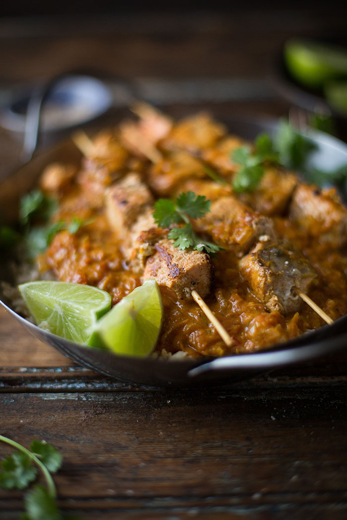 indian salmon curry skewers