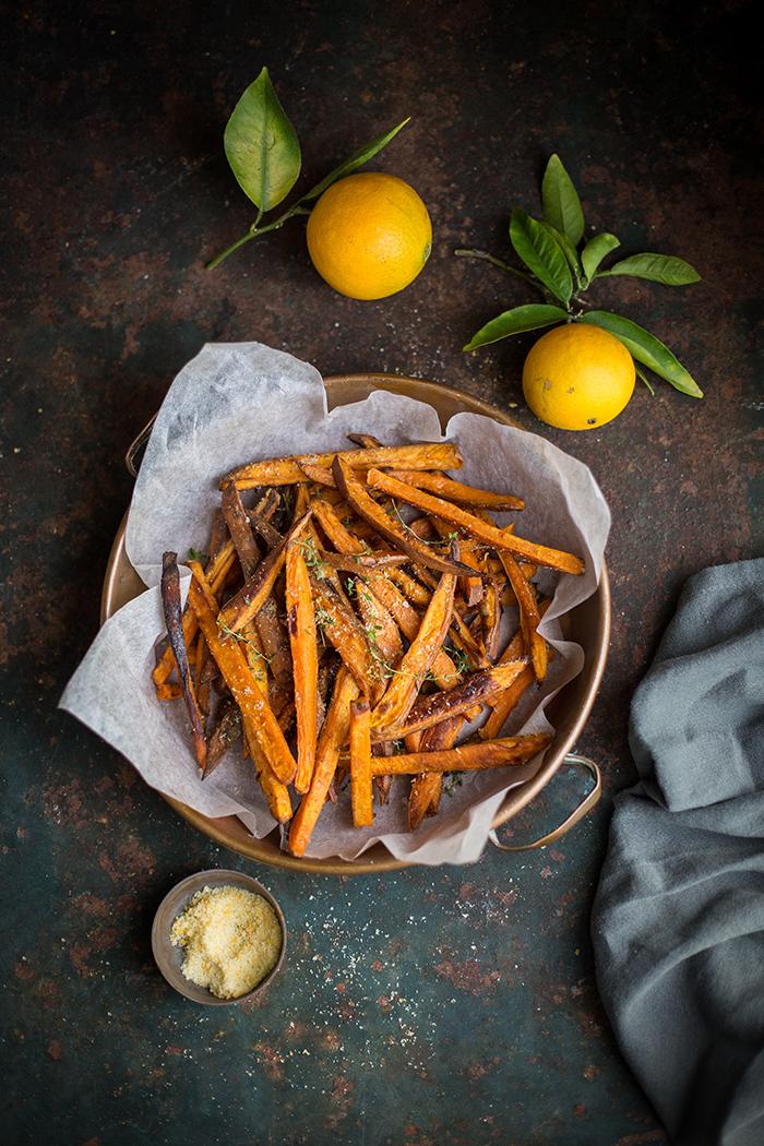 Oven roasted sweet potato 'fries' with orange salt