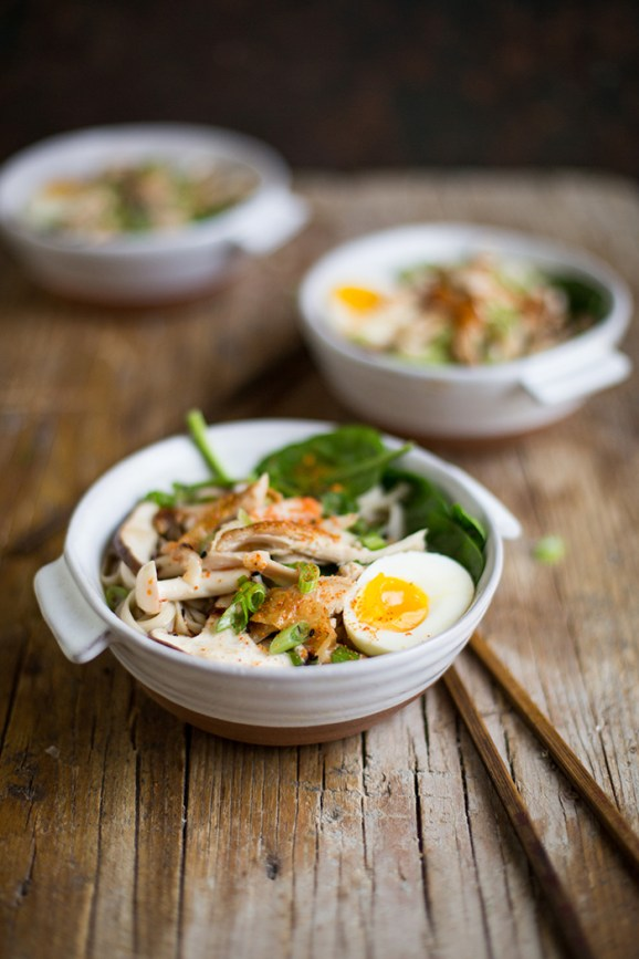 easy miso ramen recipe with roast chicken and mushrooms