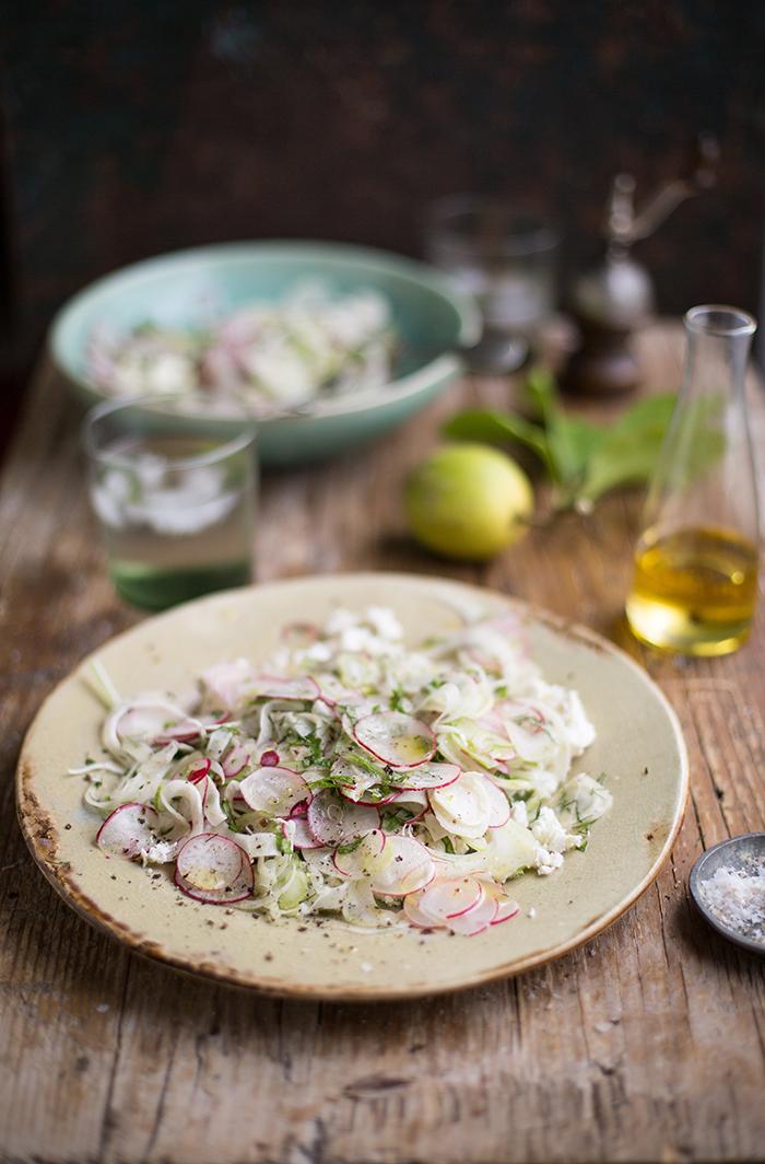 fennel, radish & mint salad with lemon & ricotta