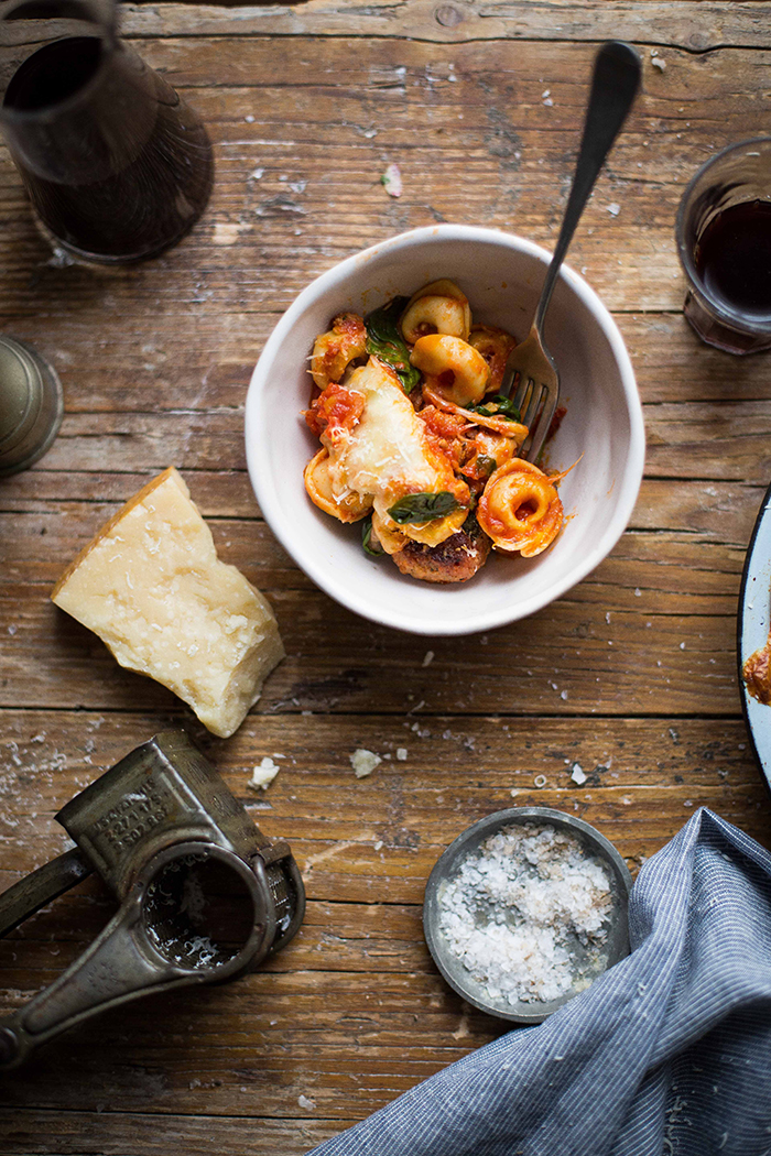 tortellini & italian sausage meatball bake with spinach