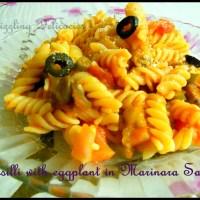 Fusilli with Baked Eggplant and Marinara Sauce