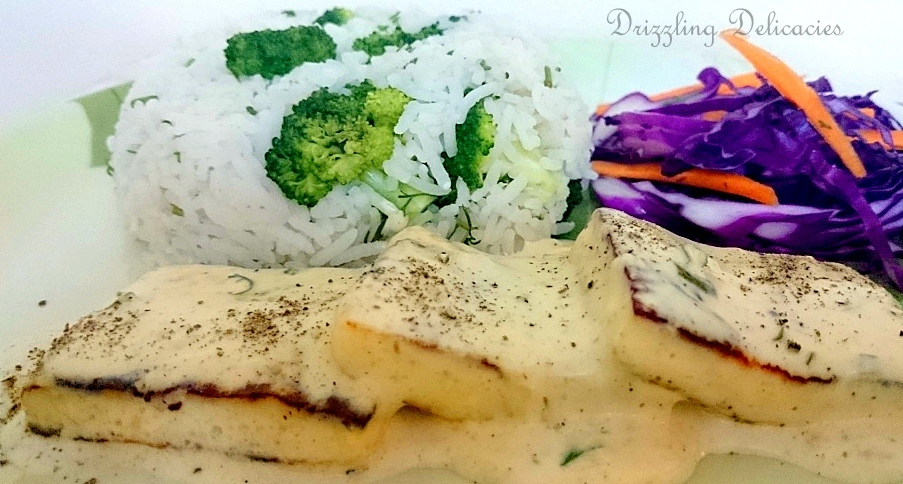 Broccoli Rice with Cottage Cheese in Chilli Garlic Cream Sauce (5/5)