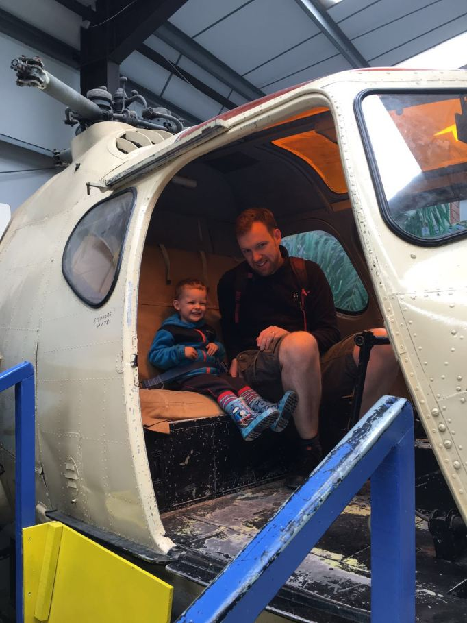 In a helicopter with Daddy