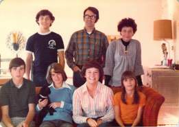 The Iversen-Smyth Family, in 1976 Top left to right: Terry Smyth, Jack Iversen, Joan Smyth Iversen Bottom left to right: Tod Iversen, Kristen Iversen, Nancy Smyth, Jill Iversen