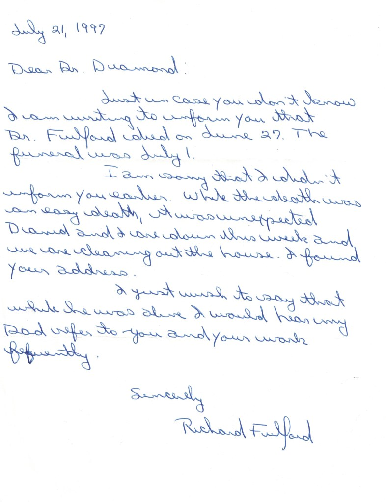 Letter from Richard Fulford to Dr Diamond