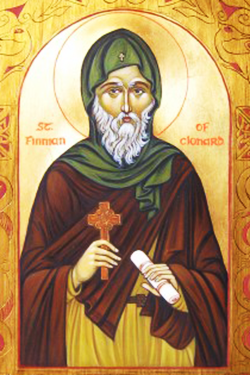 Orthodox Icon of Irish Saint, Finnian of Clonard 250x375px