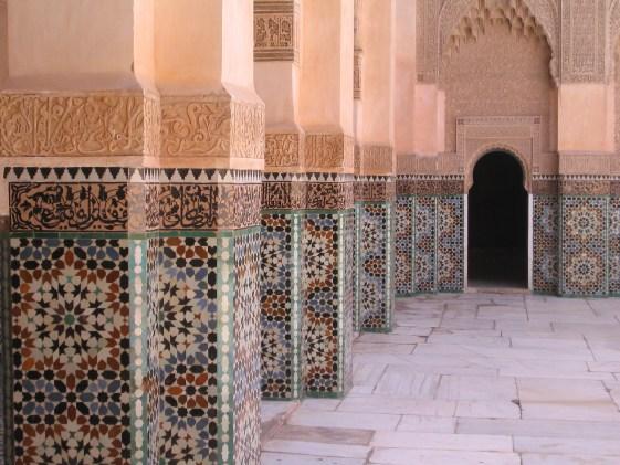 Marakesh columns in bin Yousuf Madrasa