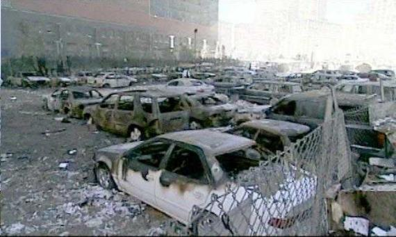 Parked cars burned out at ground zero