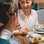 girl eating and talking
