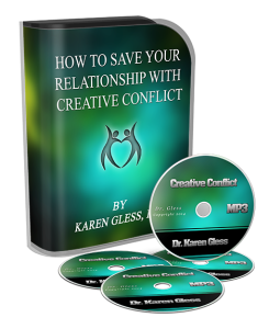 A picture of the box set and CDs of Dr. Karen Gless course How to Save your Relationship with Creative Conflict.