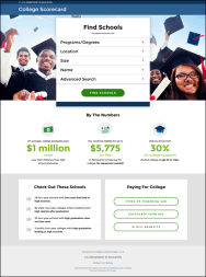 College scorecard homepage
