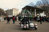 Police Motorcycle Follows the 'Forward On Climate' Rally