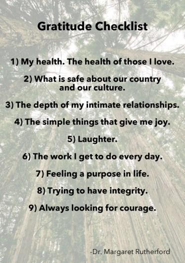 Gratitude Checklist Dr Margaret