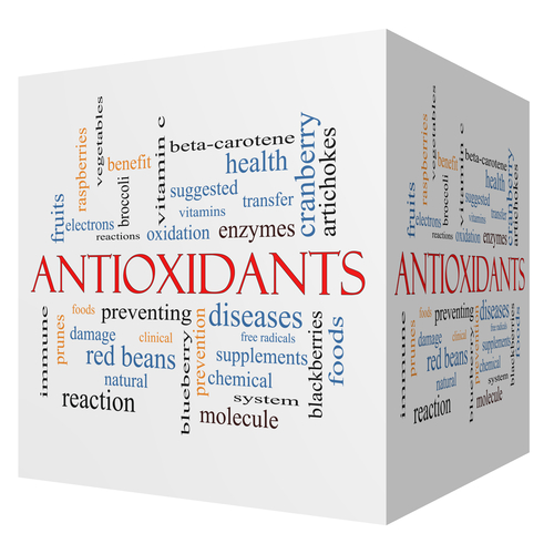Antioxidants 3D cube Word Cloud Concept