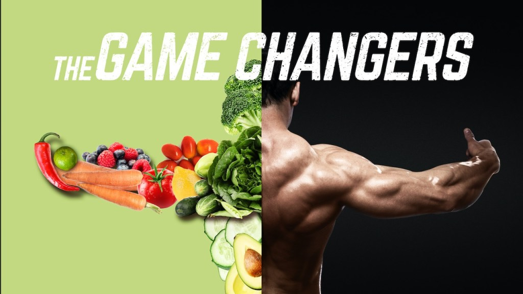 split screen between body builder and salad in the form of a man