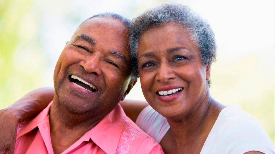 african-american older couple laughing