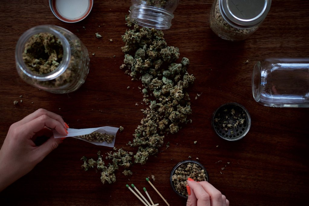 lots of marijuana flower on table and woman with nail polish rolling cannabis joint