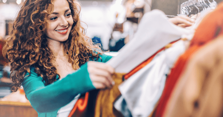 young woman shopping for new clothes