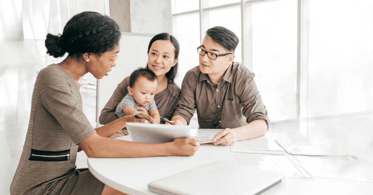 young asian family talking with financial planner