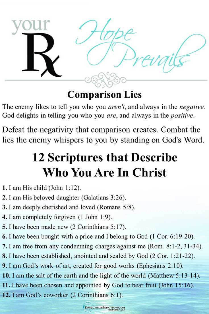 12 Scriptures that Describe Who You Are In Christ. Defeat the negativity that comparison creates. Combat the lies the enemy whispers to you by standing on God's Word. #identity #BibleVerses