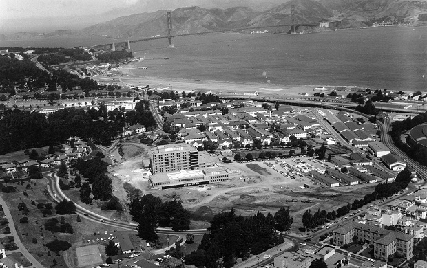 Letterman Army Medical Center photographed from above with the Golden Gate Bridge in the background. (Wikipedia)